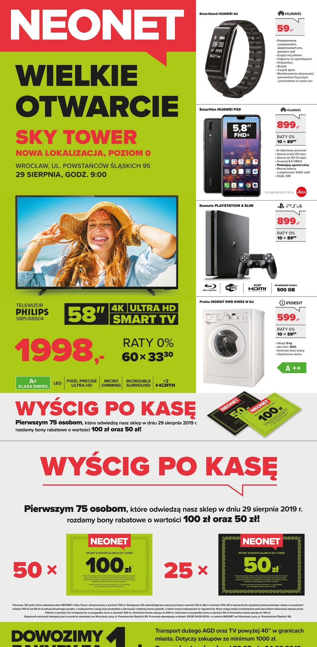 Neonet lokalnie Sky Tower Wrocław: Huawei p20 za 899 i inne!