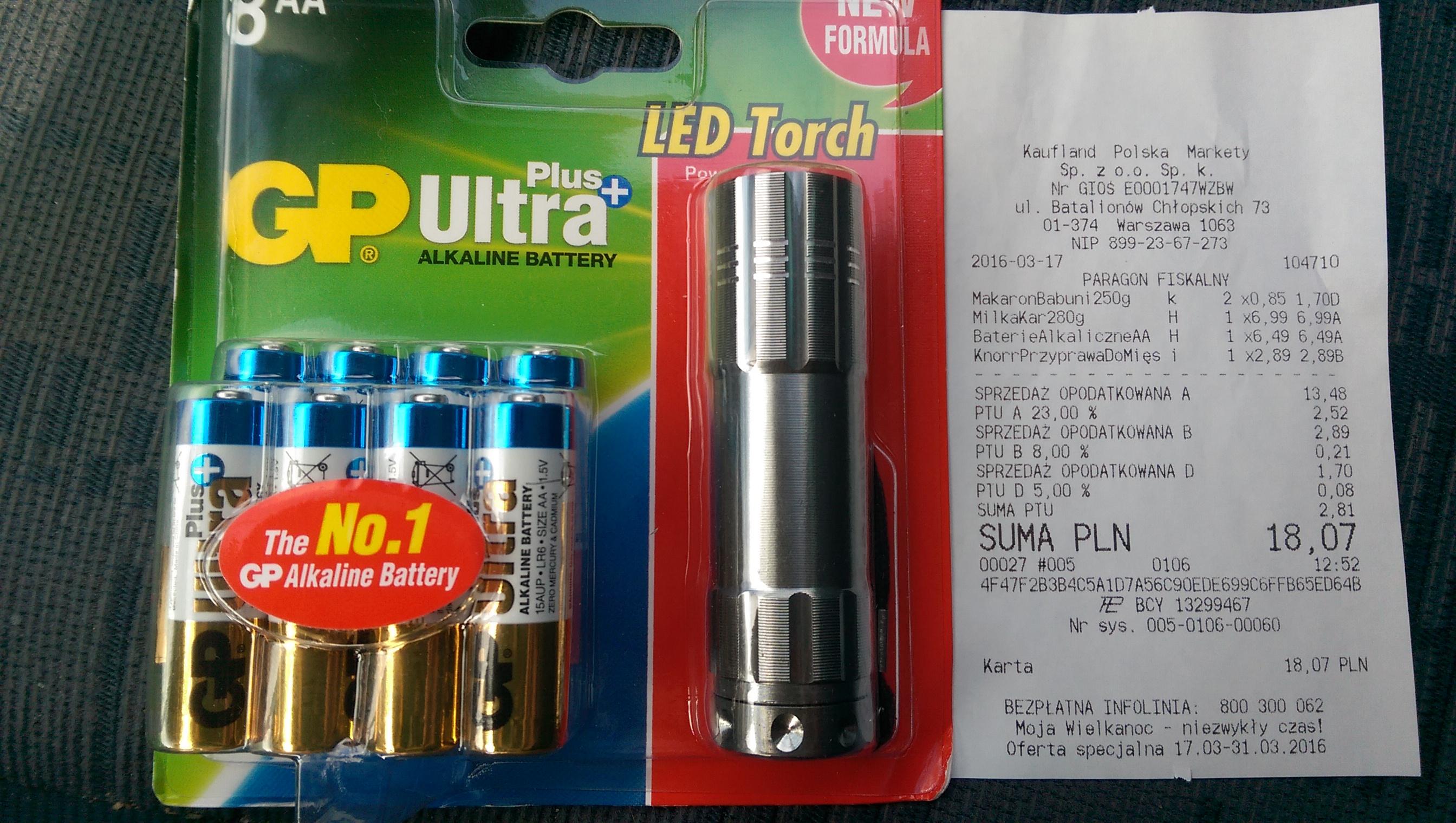 8 baterii alkalicznych AA GP Ultra Plus+ w komplecie z latarką (Kaufland Warszawa)