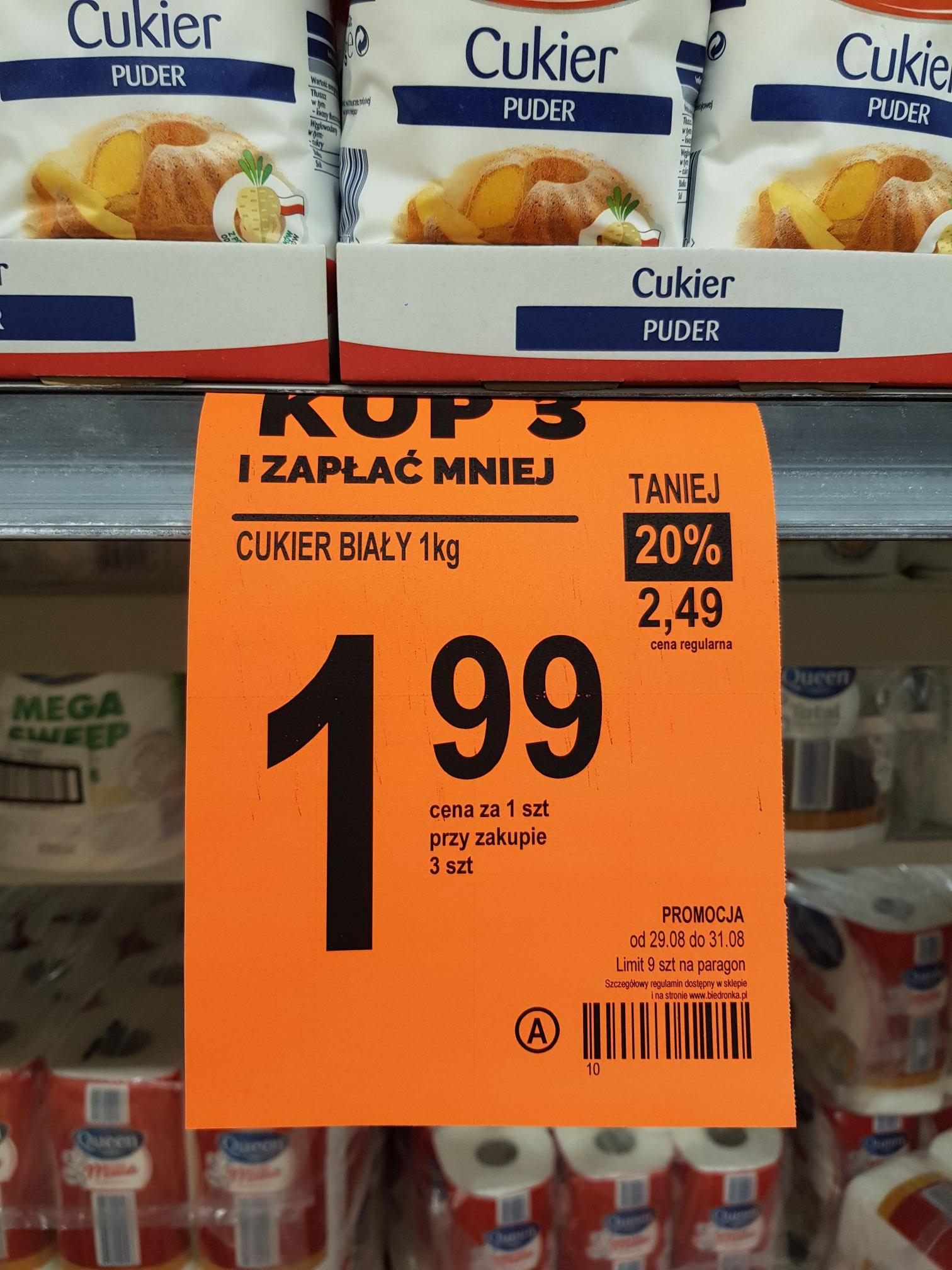 Cukier biały biedronka 1,99 przy zakupie 3 sztuk