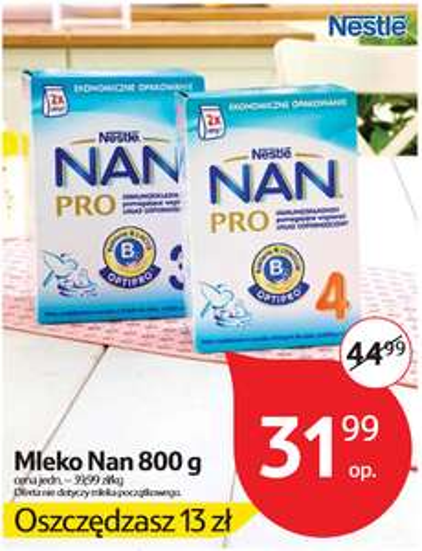 Mleko Nestle NAN Pro 800g za 31,99zł @ Tesco