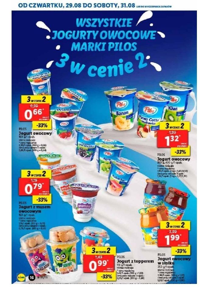 Wszystkie jogurty owocowe marki PILOS, 3 w cenie 2. Lidl