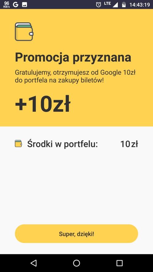[jakdojade] 10zł na konto apki za zakup biletu przez Google Pay