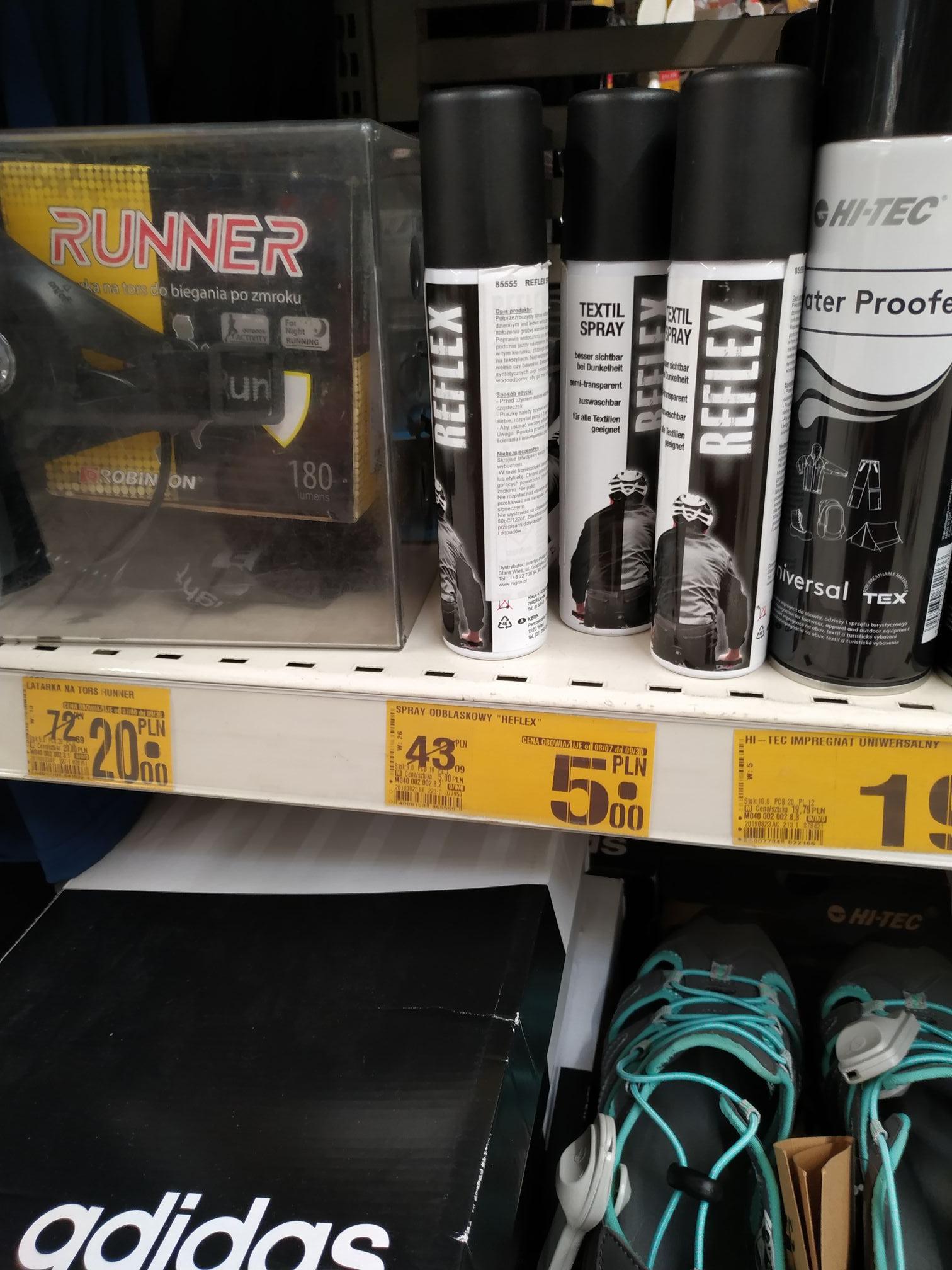 """Auchan Żory - Spray odblaskowy """"REFLEX"""" najtaniej w e.m.p.i.k za 33 oraz sandały damskie Hi Tec Tiore za 49"""