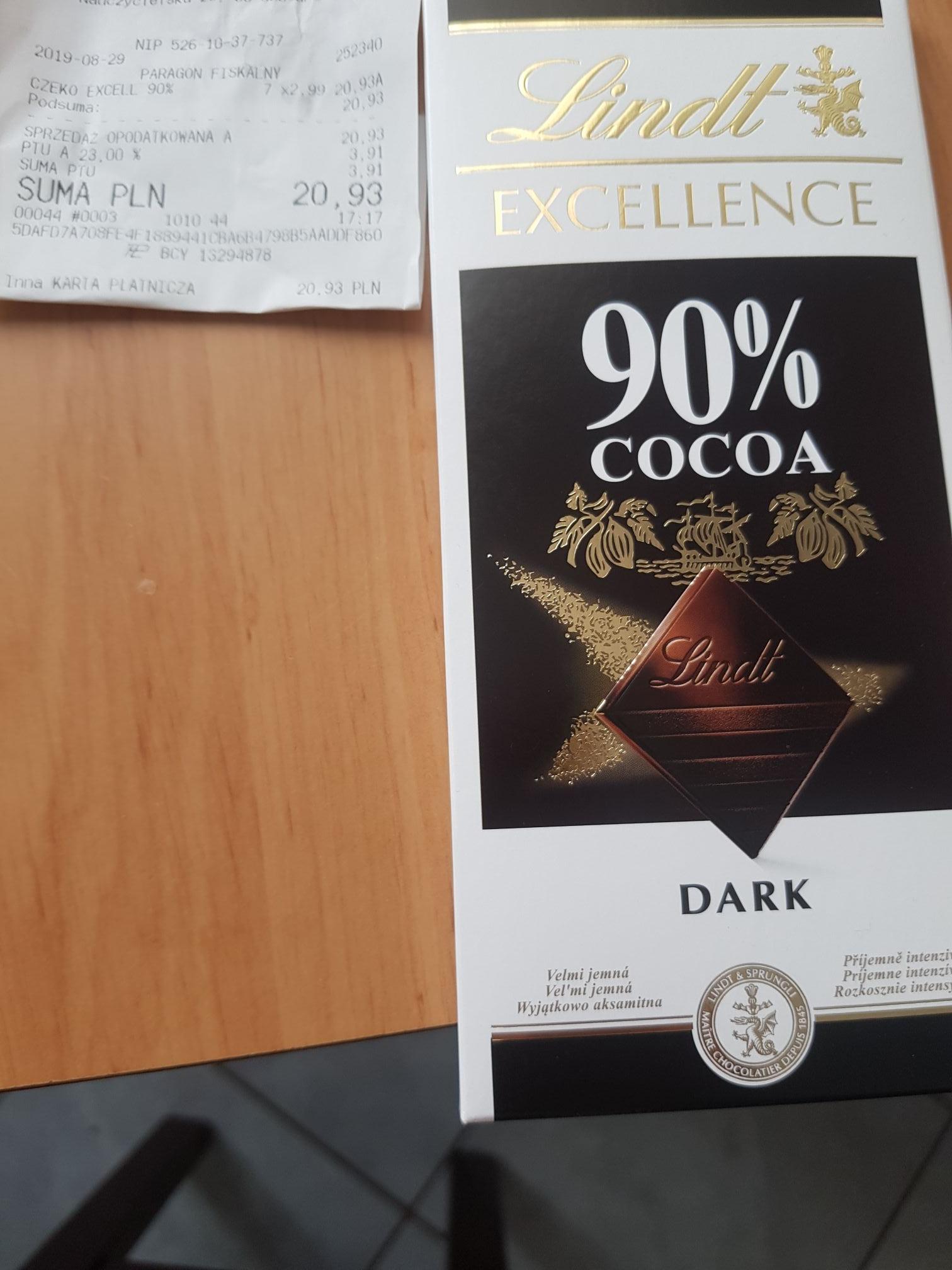 Czekolada  Lindt Excellence 90% Cocoa Tesco Supermarket