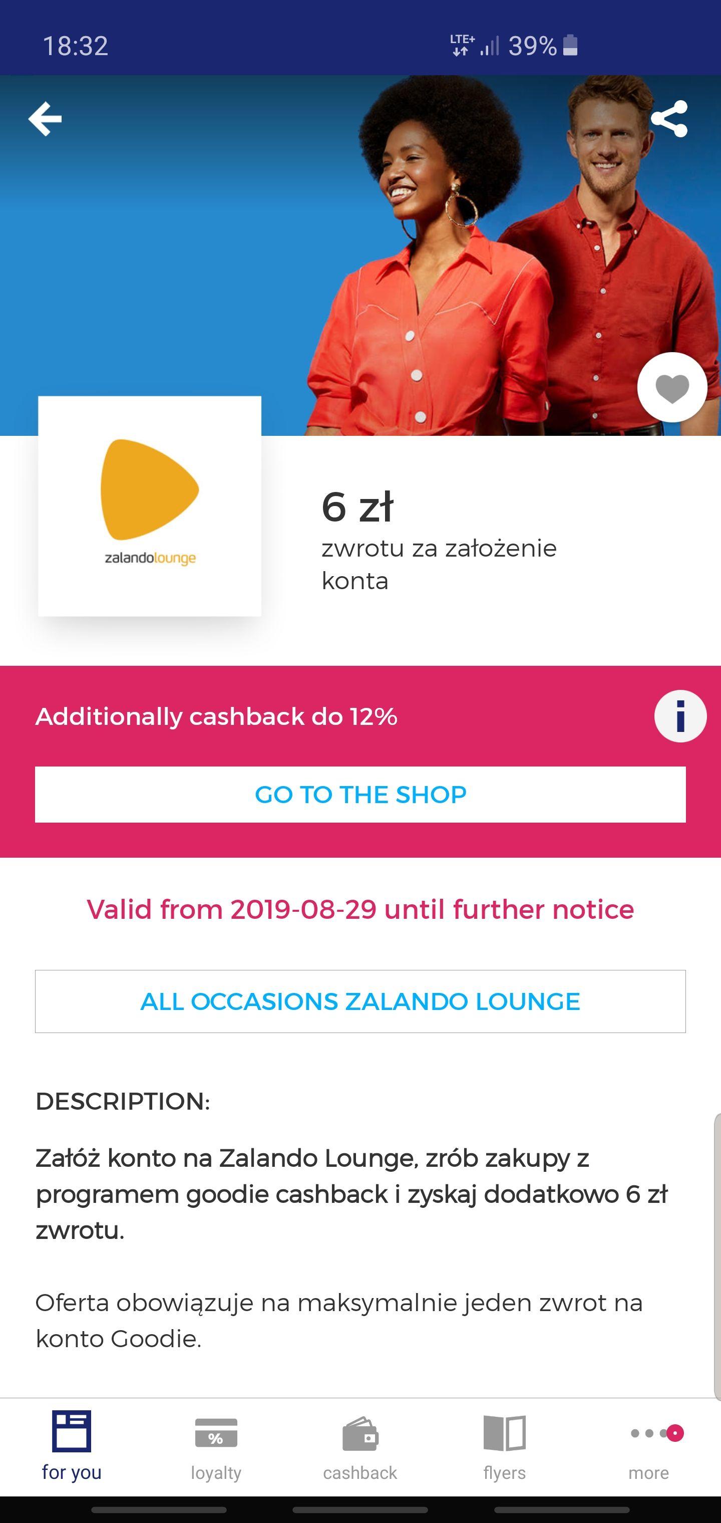 6 złotych zwrotu za założenie konta na Zalando Lounge i do 12% cashback - Goodie