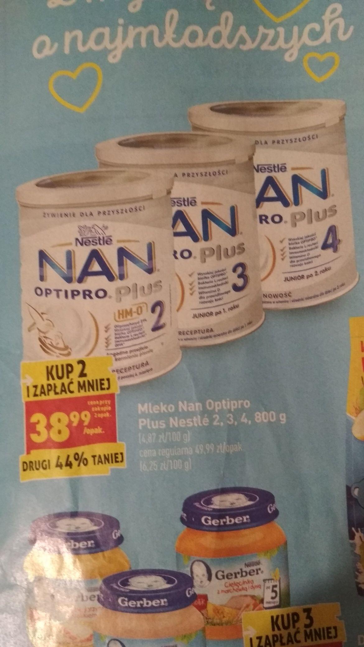 Mleko Nan Optipro plus 2,3 i 4 przy zakupie 2 sztuk Biedronka