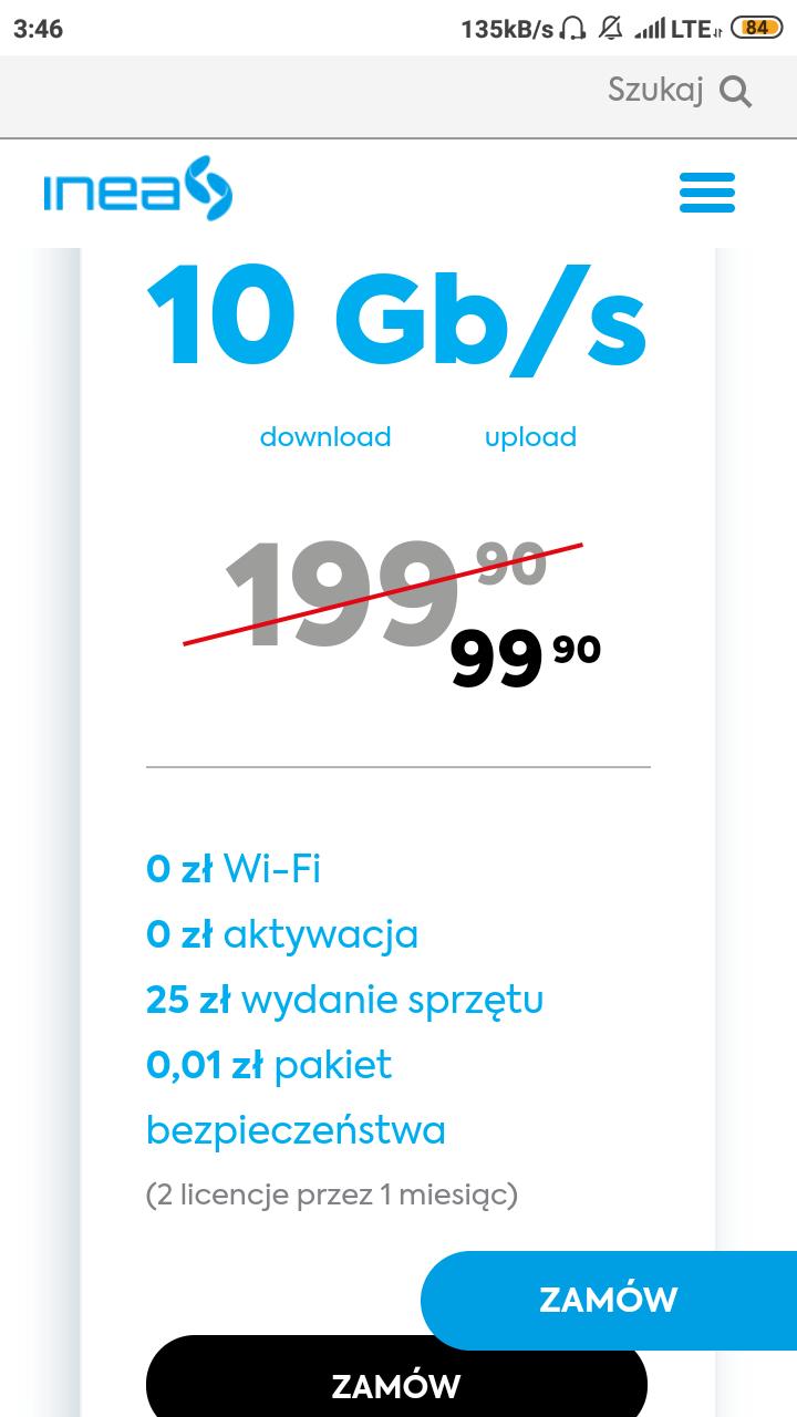 INEA światłowód 10GB/s za 99.90 PLN