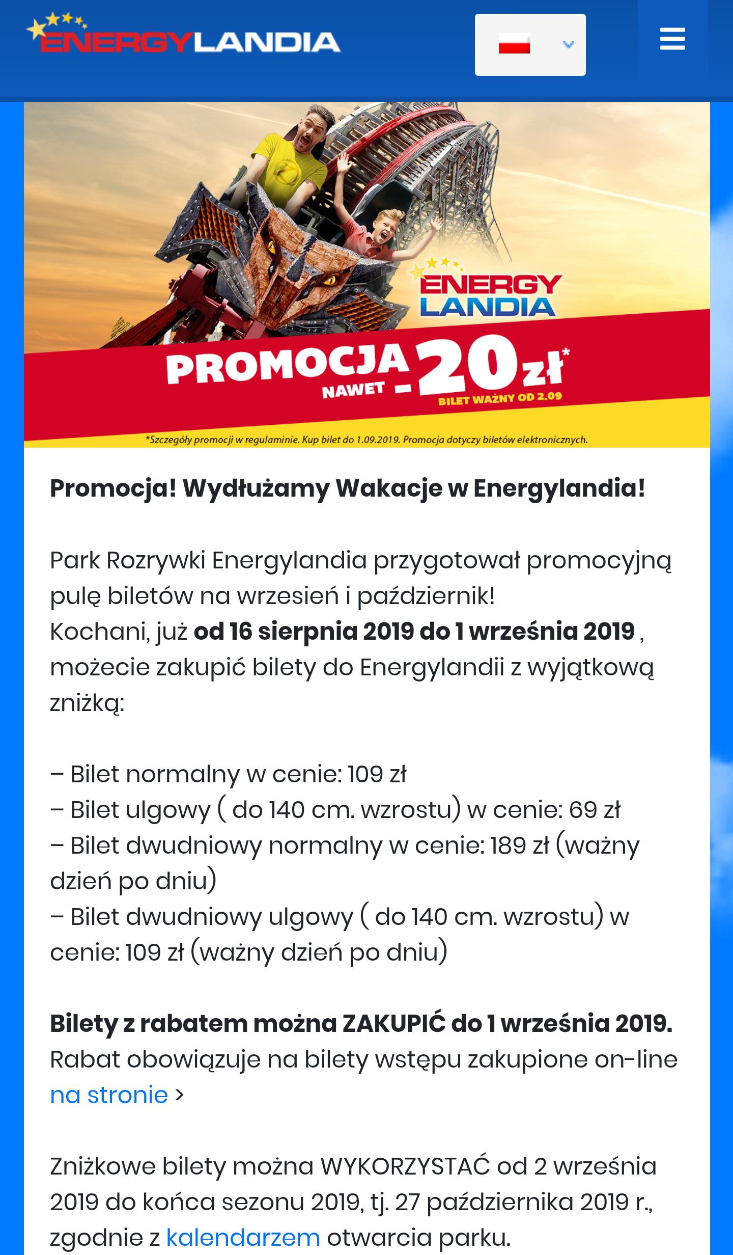 Energylandia bilet online -20zl