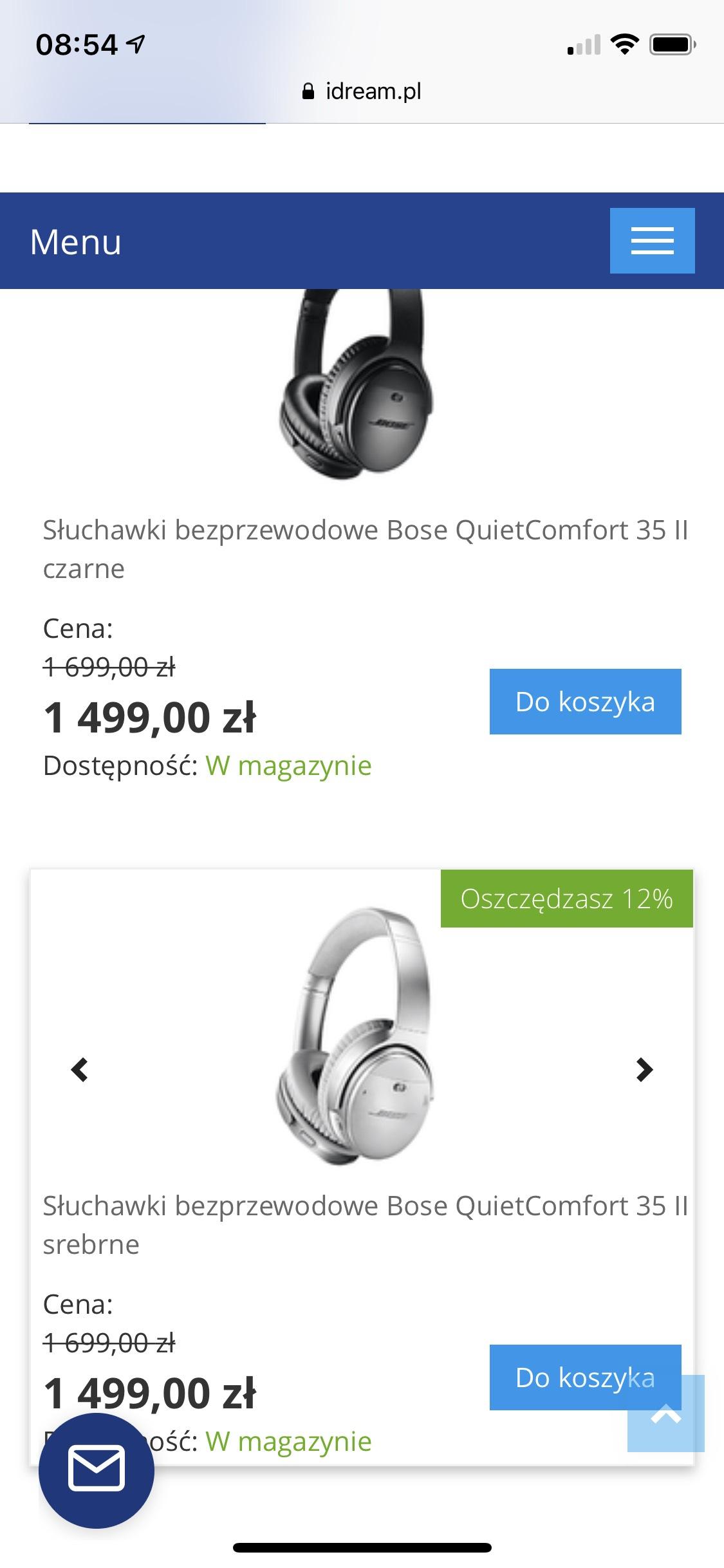 Słuchawki bezprzewodowe Bose QuietComfort 35 II iDream