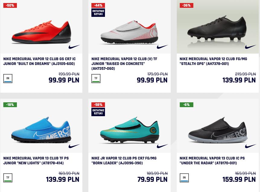 Wyprzedaż obuwia piłkarskiego Nike  (np. turfy Nike Mercurial SuperflyX 6 za 189,99zł) @ ZgodaFC