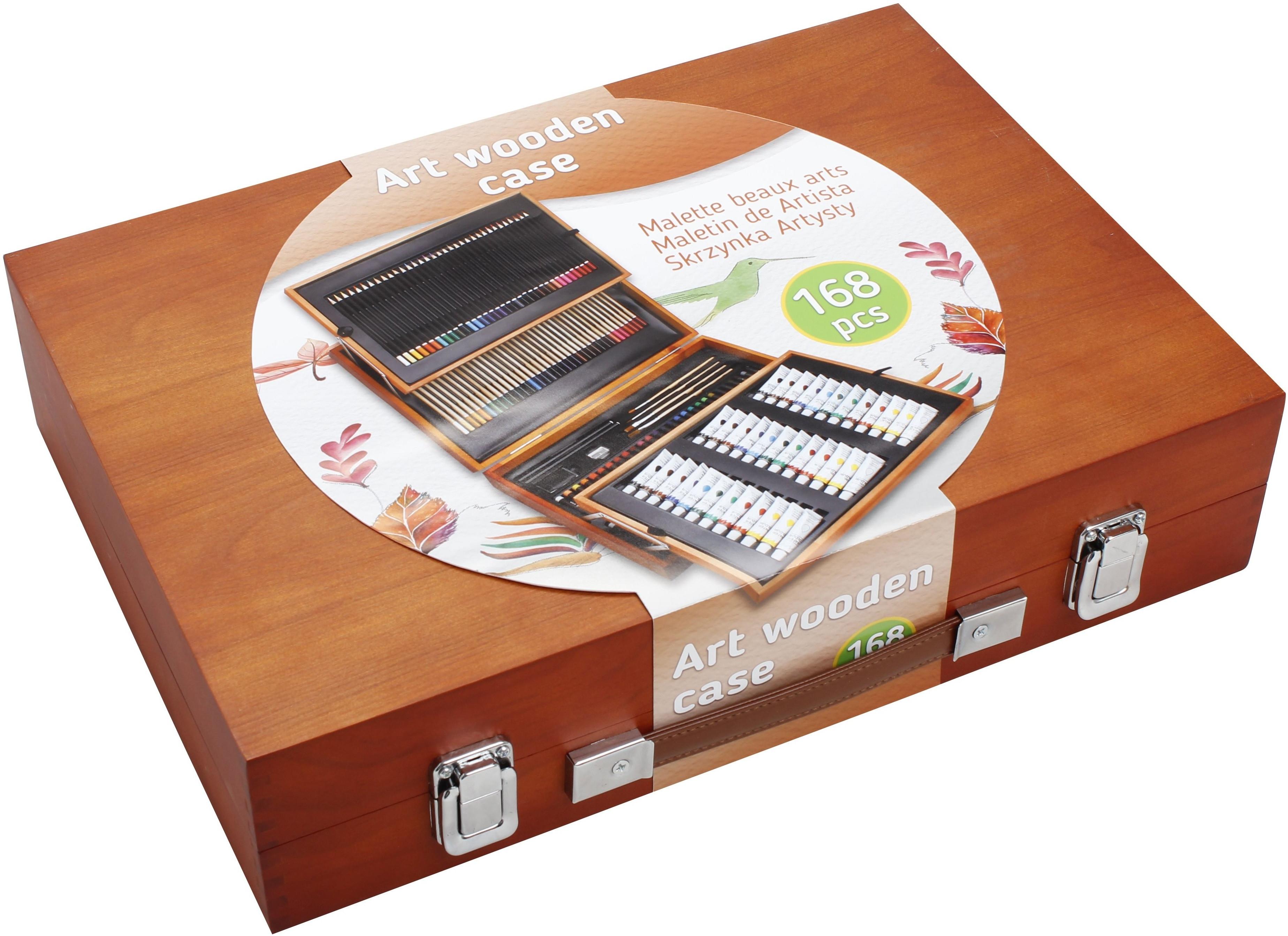 Zestaw plastyczny małego artysty 168 elementów, drewniana walizka, Carrefour też stacjonarnie