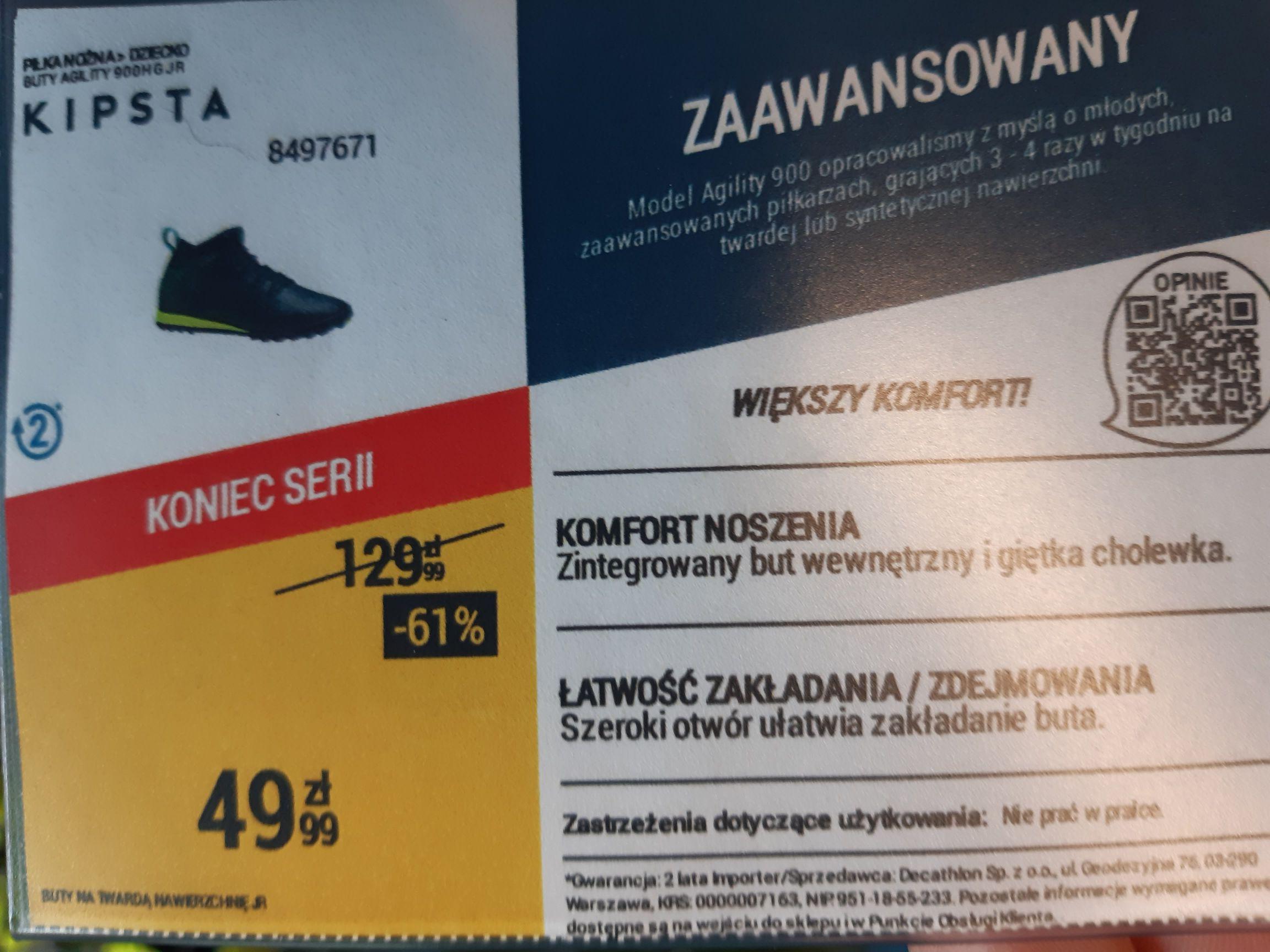 Turfy i halówki do 61% taniej w Decathlon Wilanów