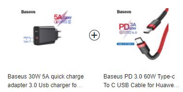 Ładowarka Baseus 30W QC 4.0 PD (USB + USB C) + kabel Baseus PD 3.0 60W Type-c To C w oplocie (1 m) za 15.89$ - JoyBuy