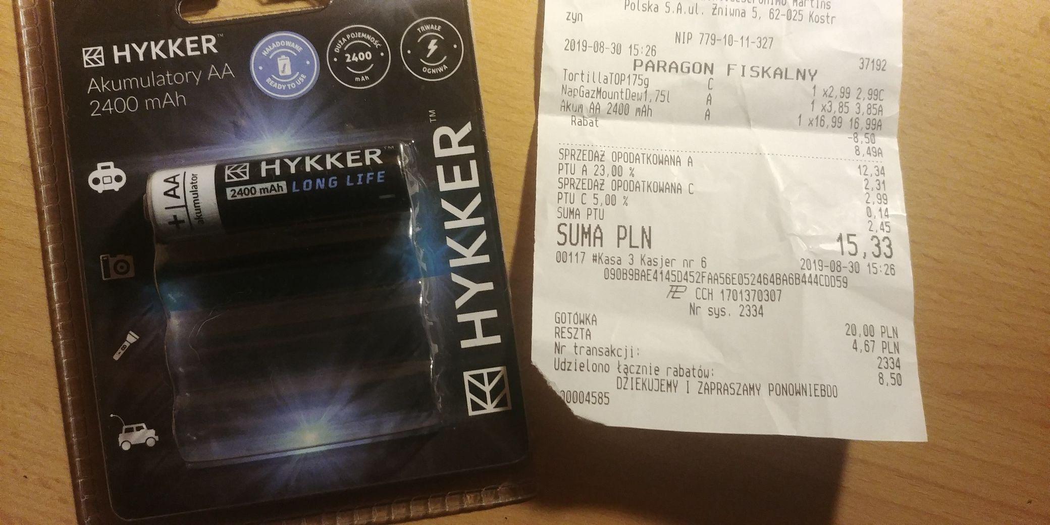 Akumulatorki HYKKER 2400mAh biedronka
