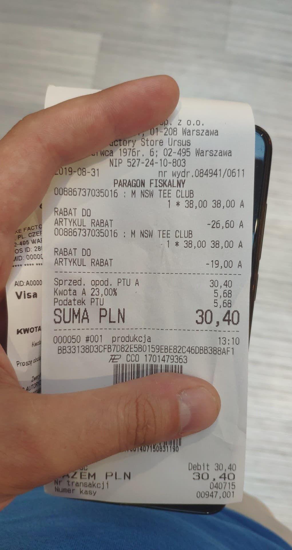 Przy zakupie 2 koszulek 15.20 zł/sztuka @ NIKE Factory URSUS