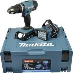 Wkrętarka udarowa Makita DHP453RYLJ + 2 aku  + walizka + lampa aku