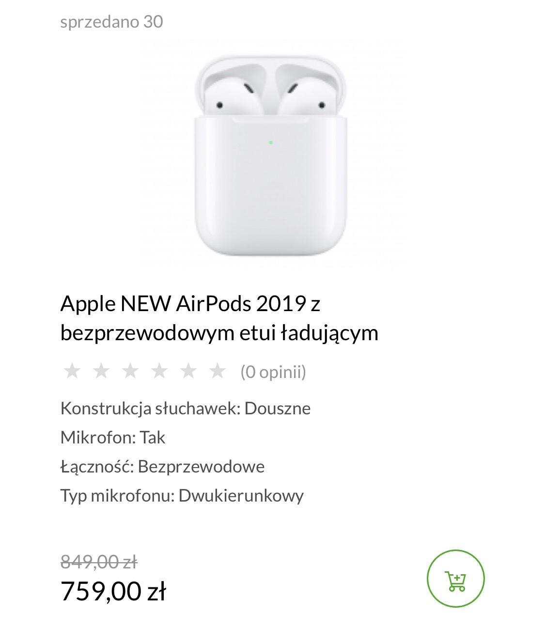 Słuchawki Apple AirPods z bezprzewodowym etui ładującym
