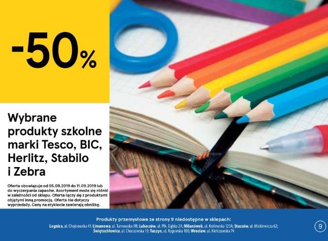 -50% na wybrane produkty szkolne marki Tesco, BIC, Herlitz, Stabilo i Zebra @ Tesco