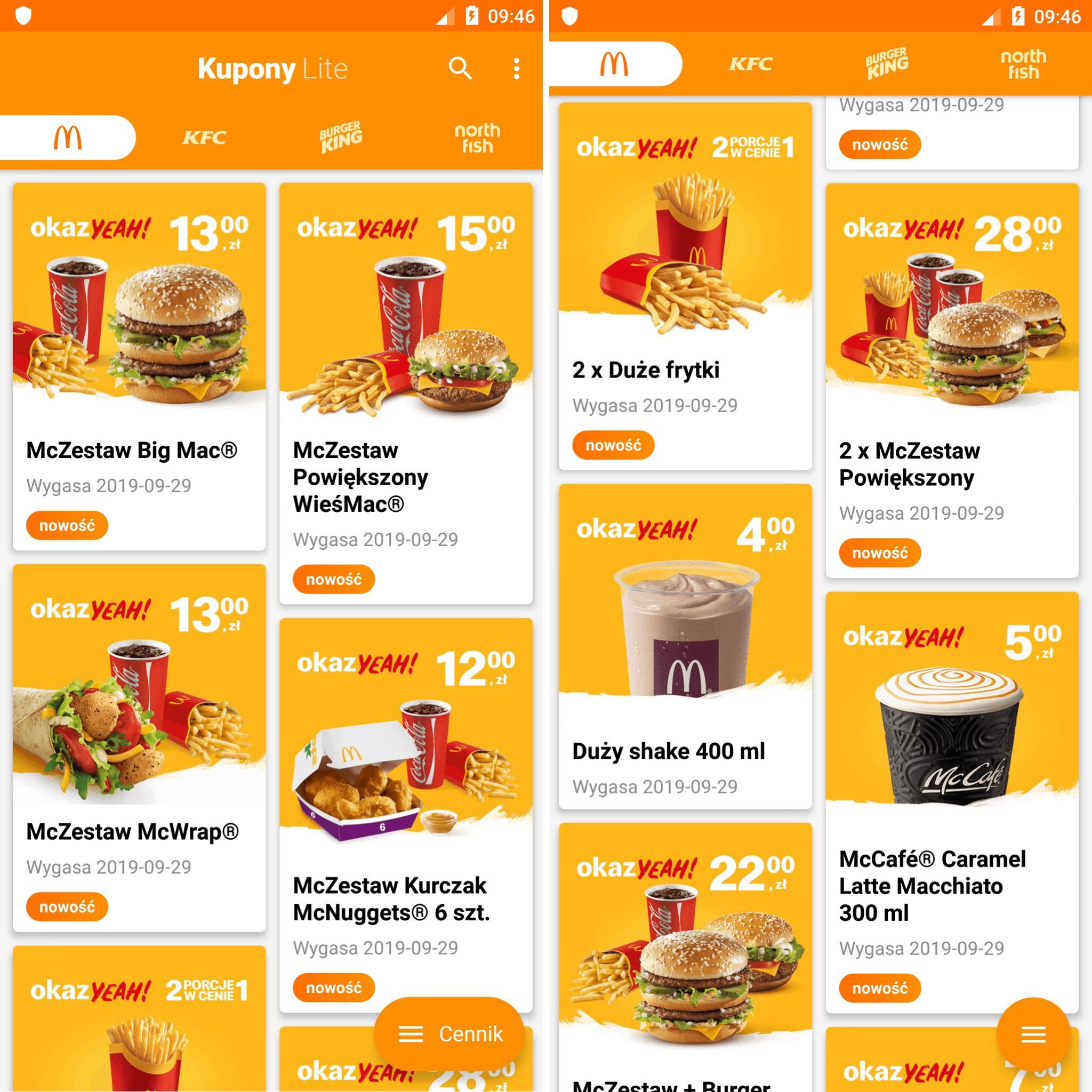Kupony McDonald's - wrzesień 2019