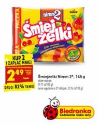 Drugie opakowanie ŚmiejŻelek w Biedronce -82% ( 2.49 zł / opakowanie )