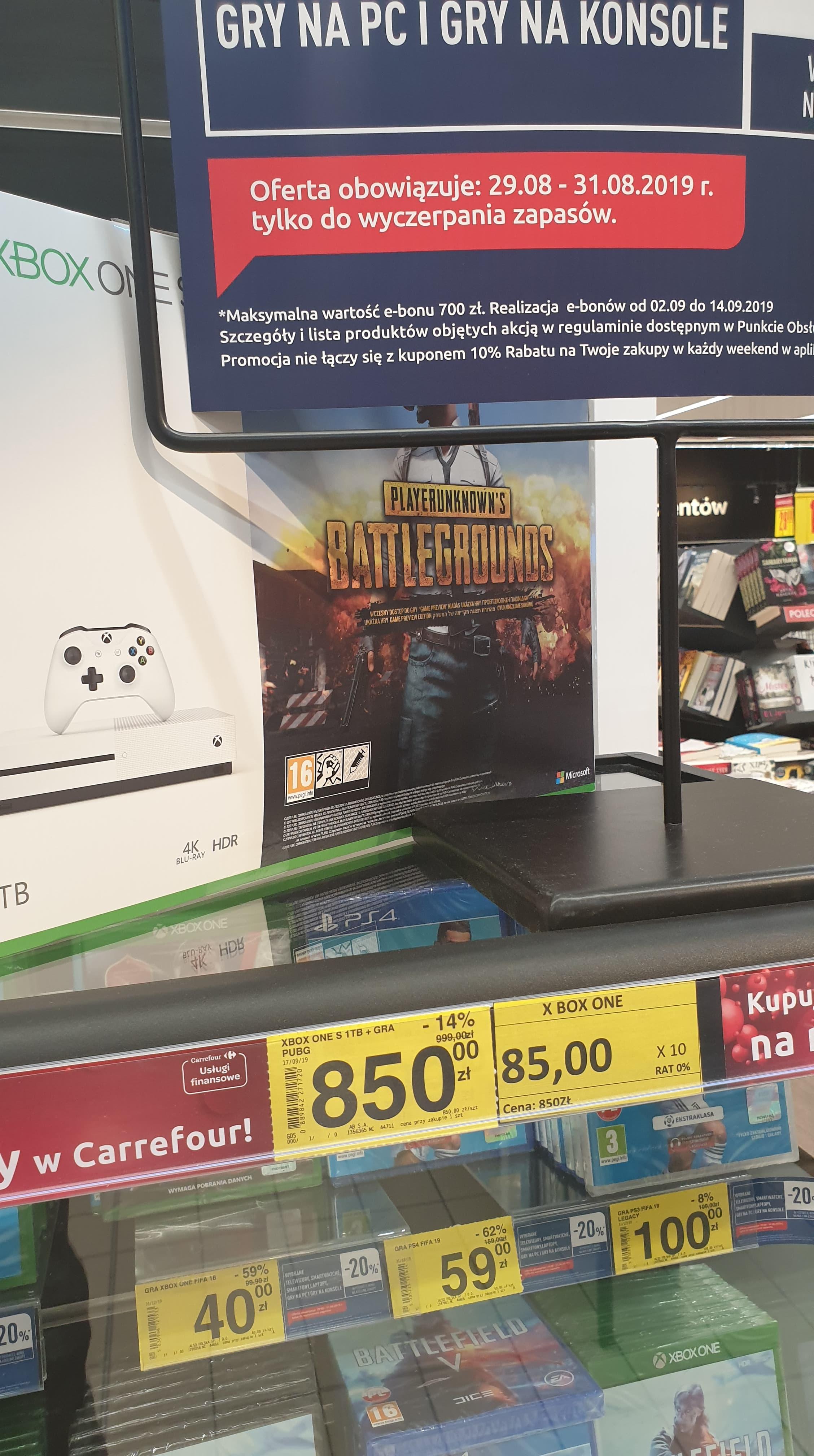 Xbox one s 1tb + gra PUBG  i inne okazje ( Carrefour Arkadia Warszawa)