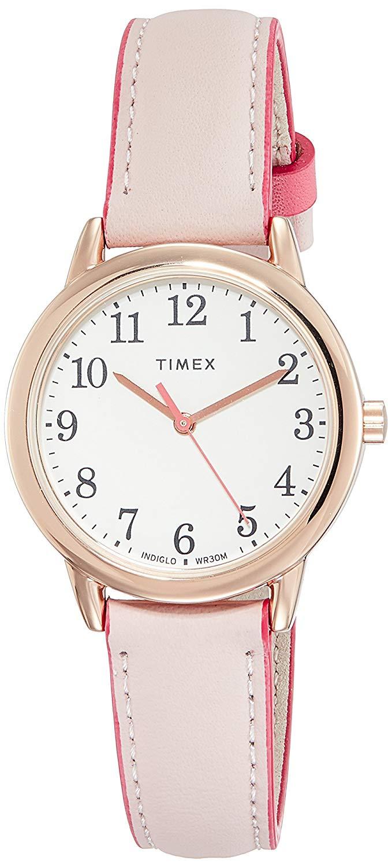 Zegarek damski Timex INDIGLO TW2R62800 Easy Reader różowe złoto (oraz TW2R62900 niebieski) , pasek skóra, wodoodporność klasa WR30 (3ATM)