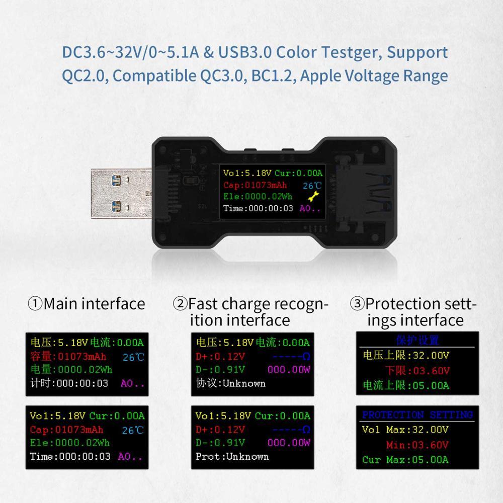 Tester / miernik napięcia i natężenia prądu FNB18 USB 3.0, QC2.0, QC3.0 z Aliexpress za 3,80$