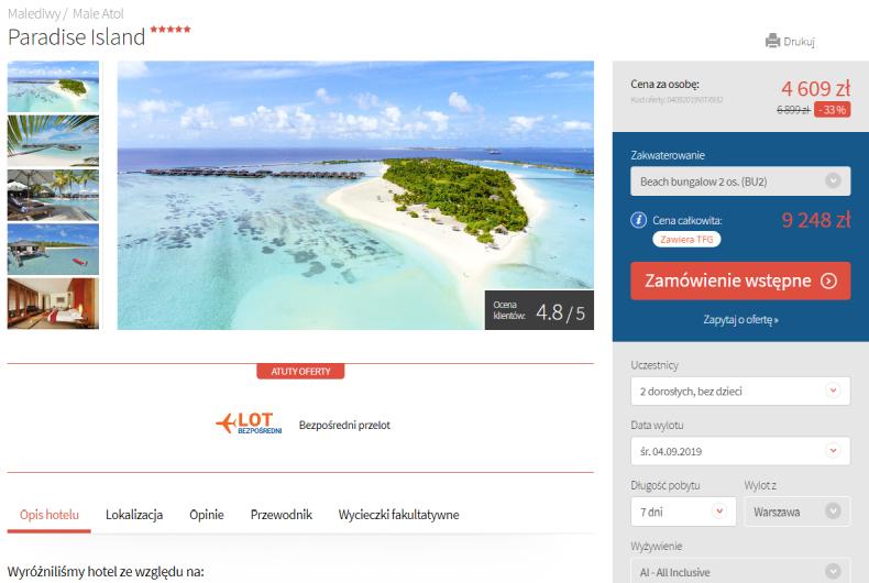 Skosztuj luksusu na Malediwach: 5* hotel z soft all inclusive za 4624 zł Wylot 4 września Warszawa