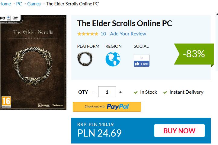 The Elder Scrolls Online za niecałe 25 zl (PC)