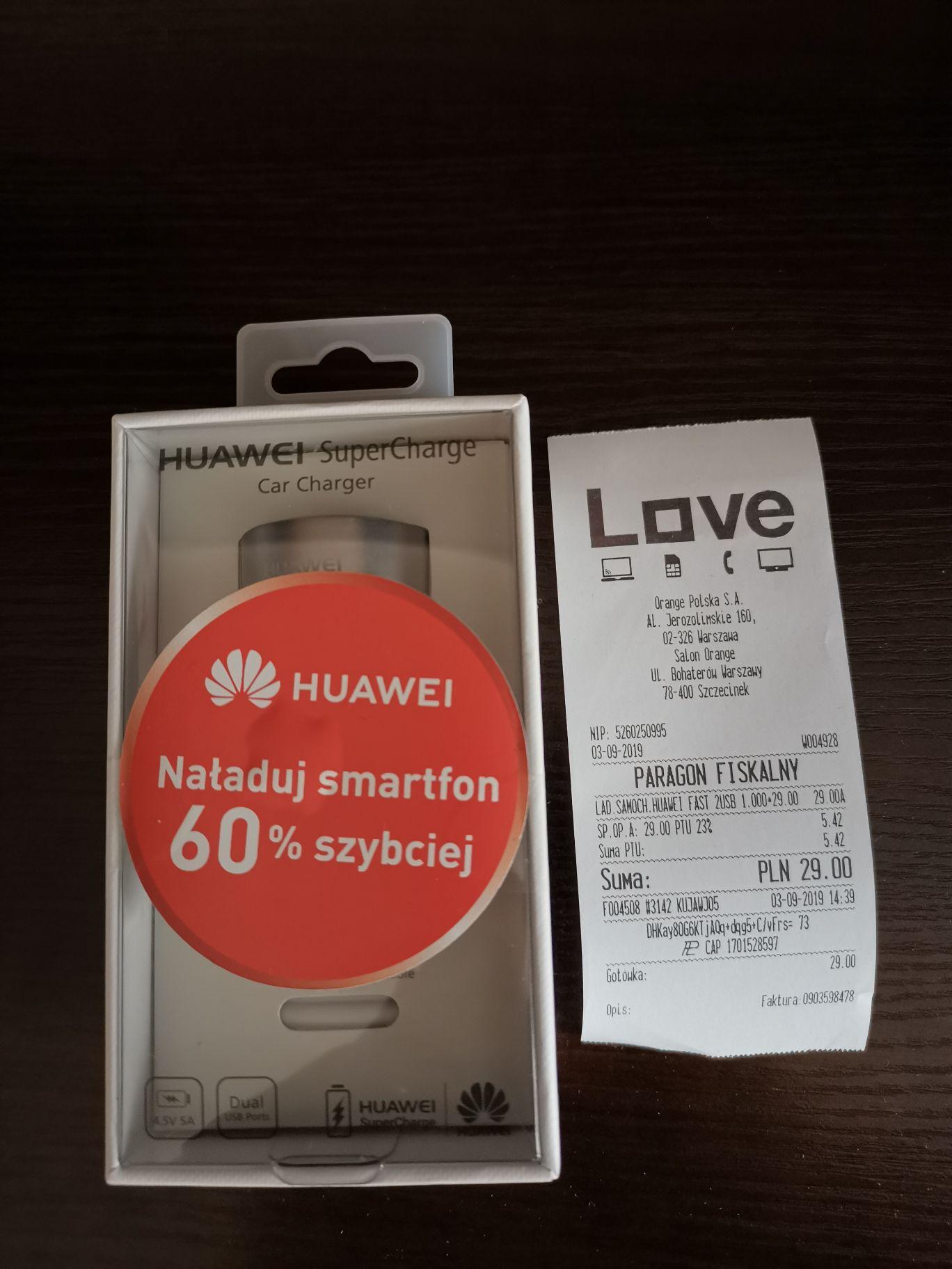 Ładowarka samochodowa Huawei 2xUSB SuperCharge AP38