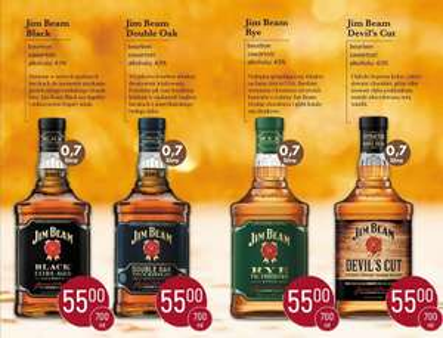 Whiskey/Whisky Jim Beam Black / Double Oak / Rye / Devil's Cut 0,7l w Szczyrba Alkohole