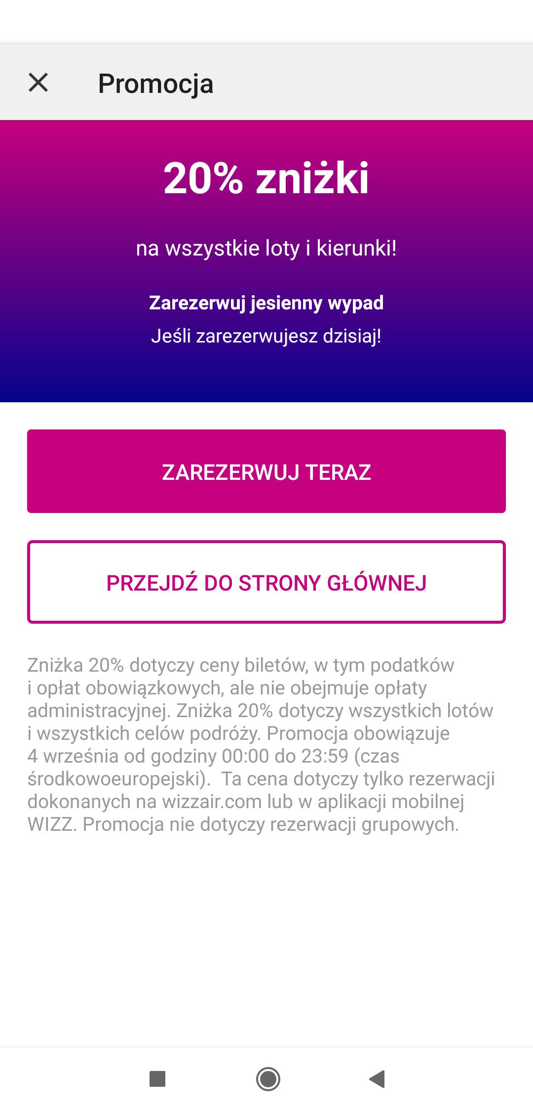 Wizzair -20% na wszystkie loty