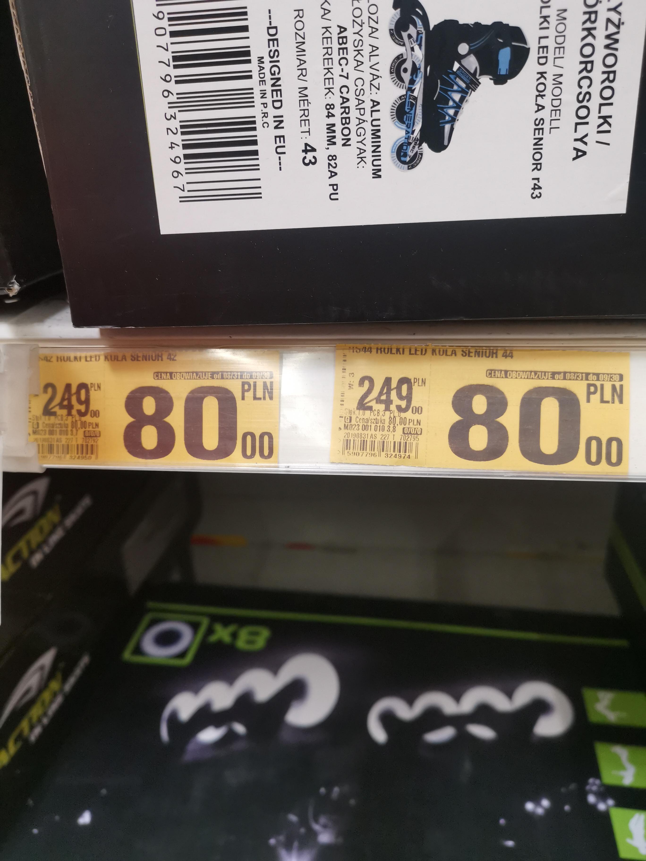 Łyżworolki z kołami LED, dostępne rozmiary 37-46