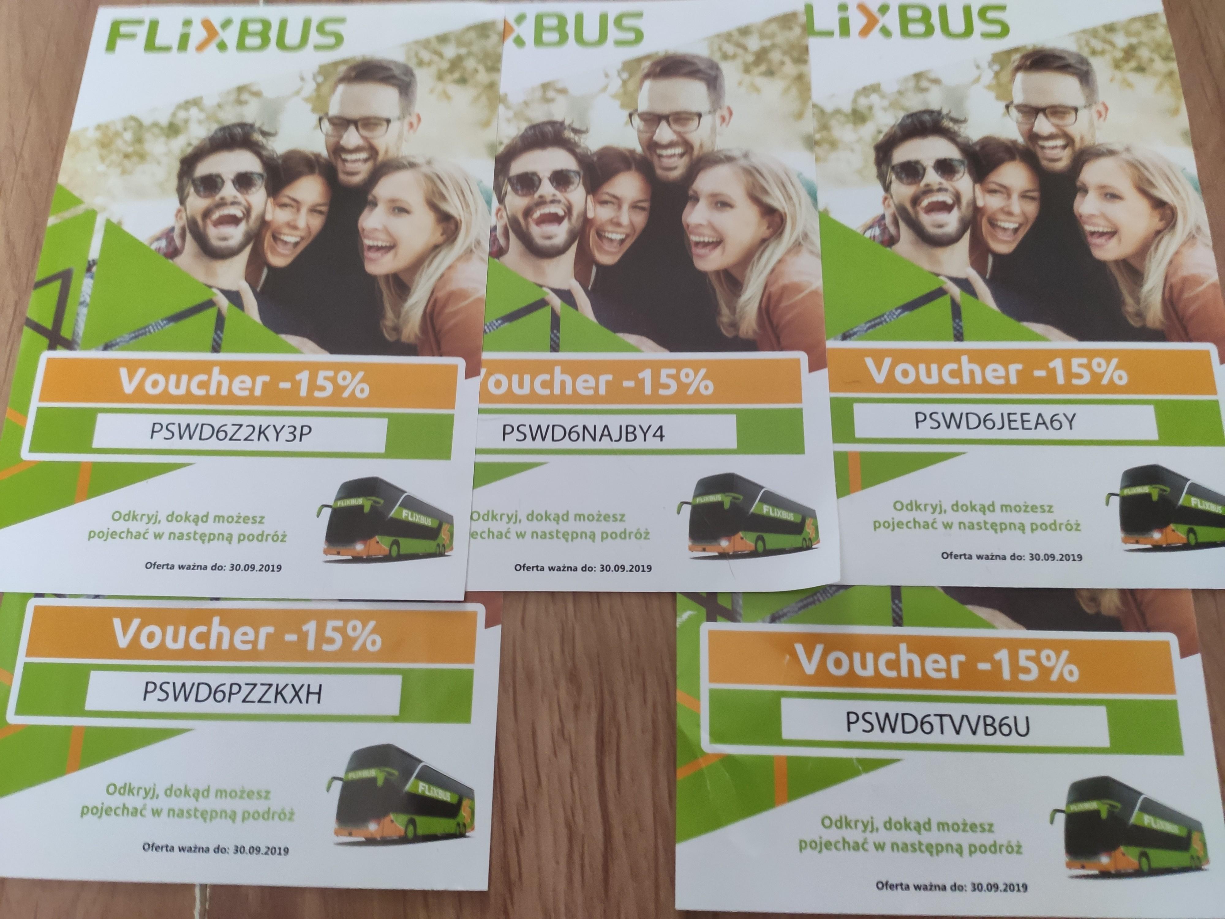 Flixbus -15%, 5 kodów ważnych do końca września.