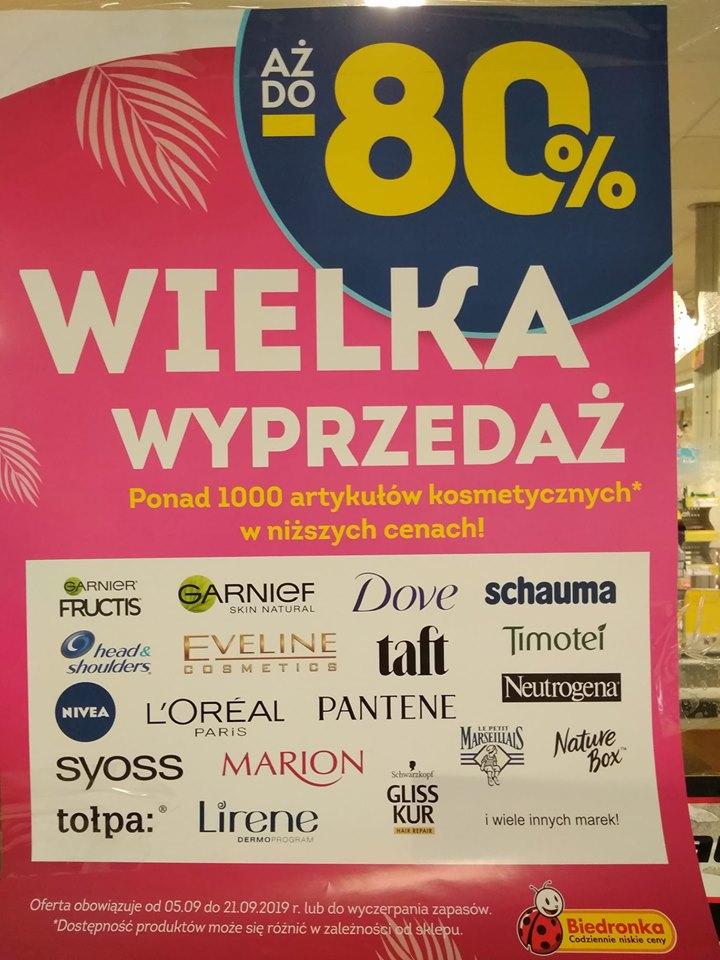 Wielka wyprzedaż Kosmetyków w Biedronce do 80% - od 05.09