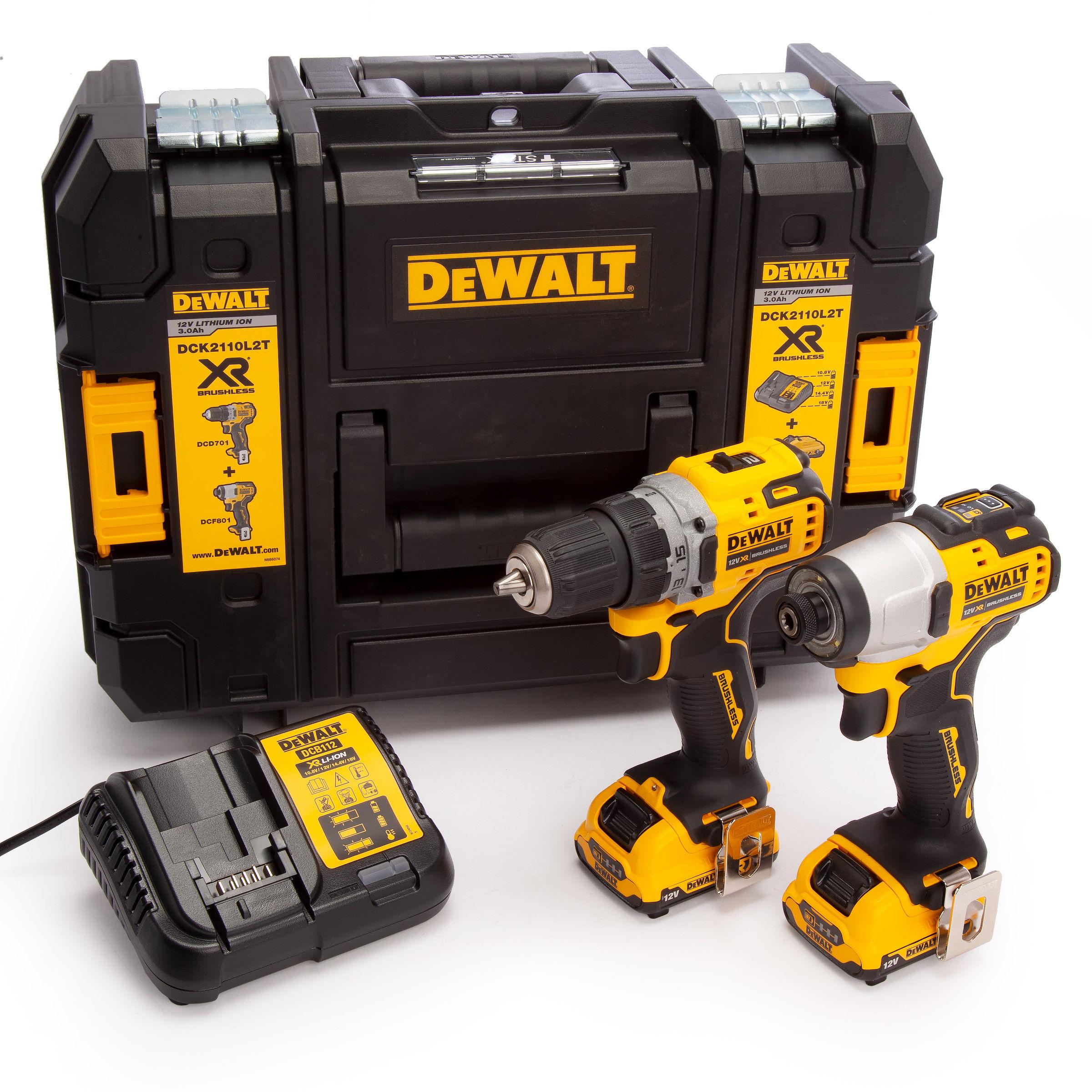 DeWALT Zestaw kompaktowa wkrętarka + zakrętarka udarowa 12V 2x3Ah za 237,20 GBP @Toolstop.co.uk