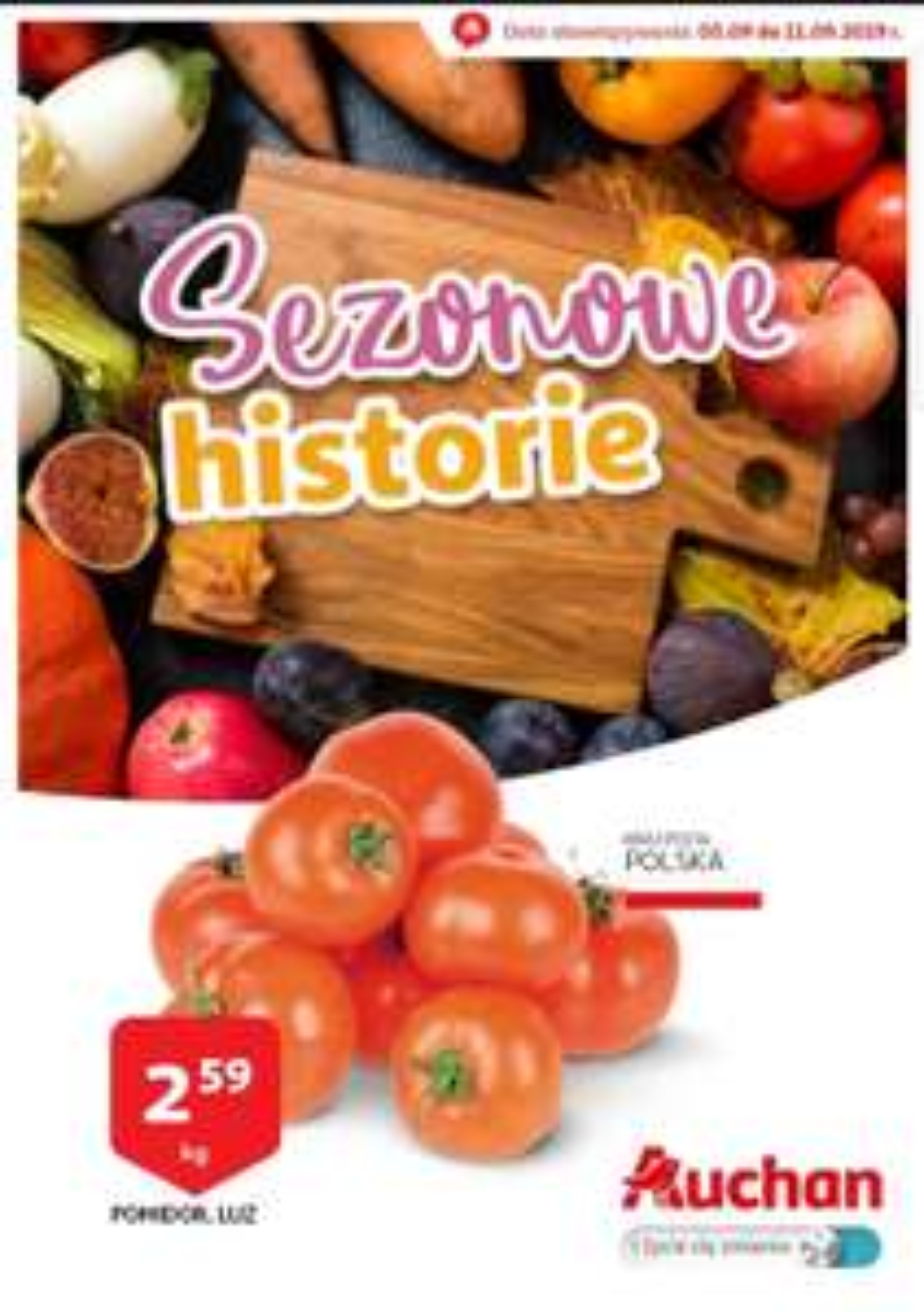 Pomidory 1kg/2.99 Auchan od 5.09 do 11.09