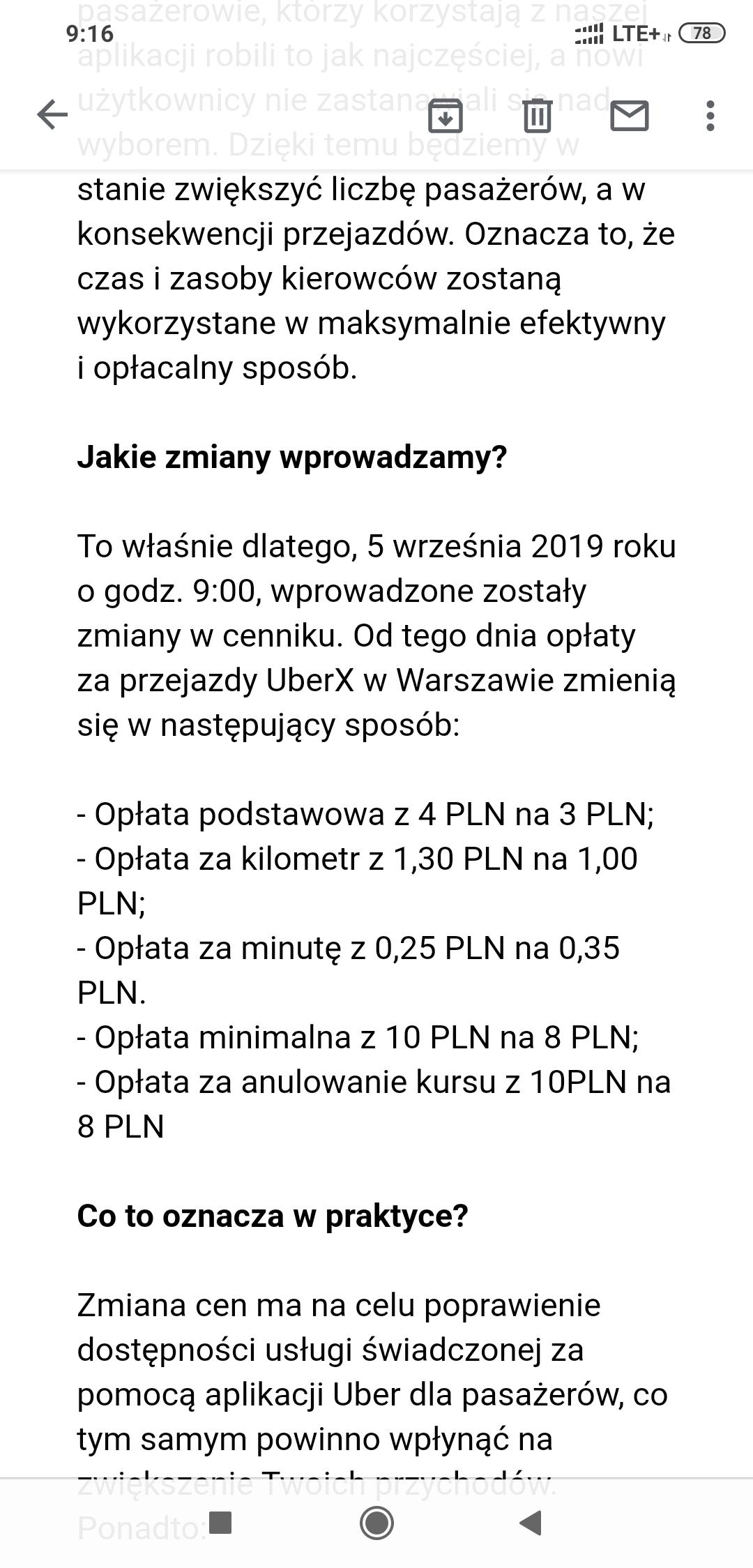 Uber w Warszawie za 1 zł/km