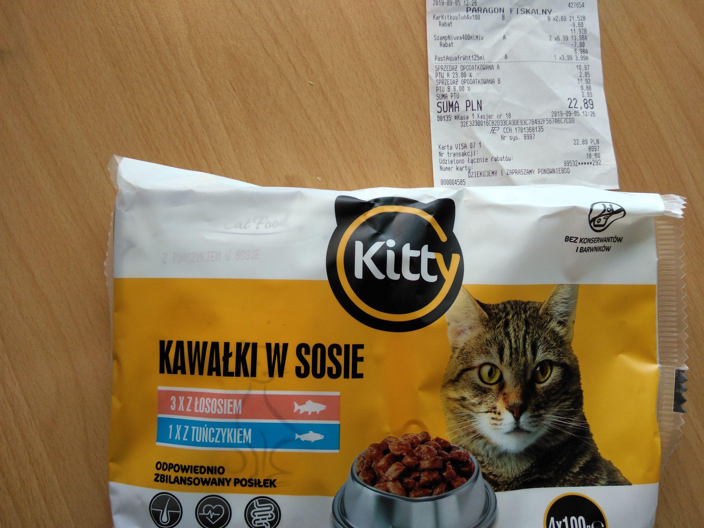 Karma dla kota Kitty 4x100g, łosoś+tuńczyk