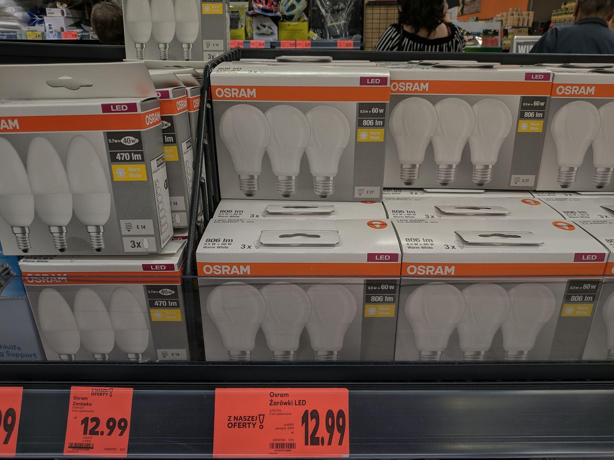 Żarówki LED OSRAM E27 i E14 3szt / Kaufland Hajnówka