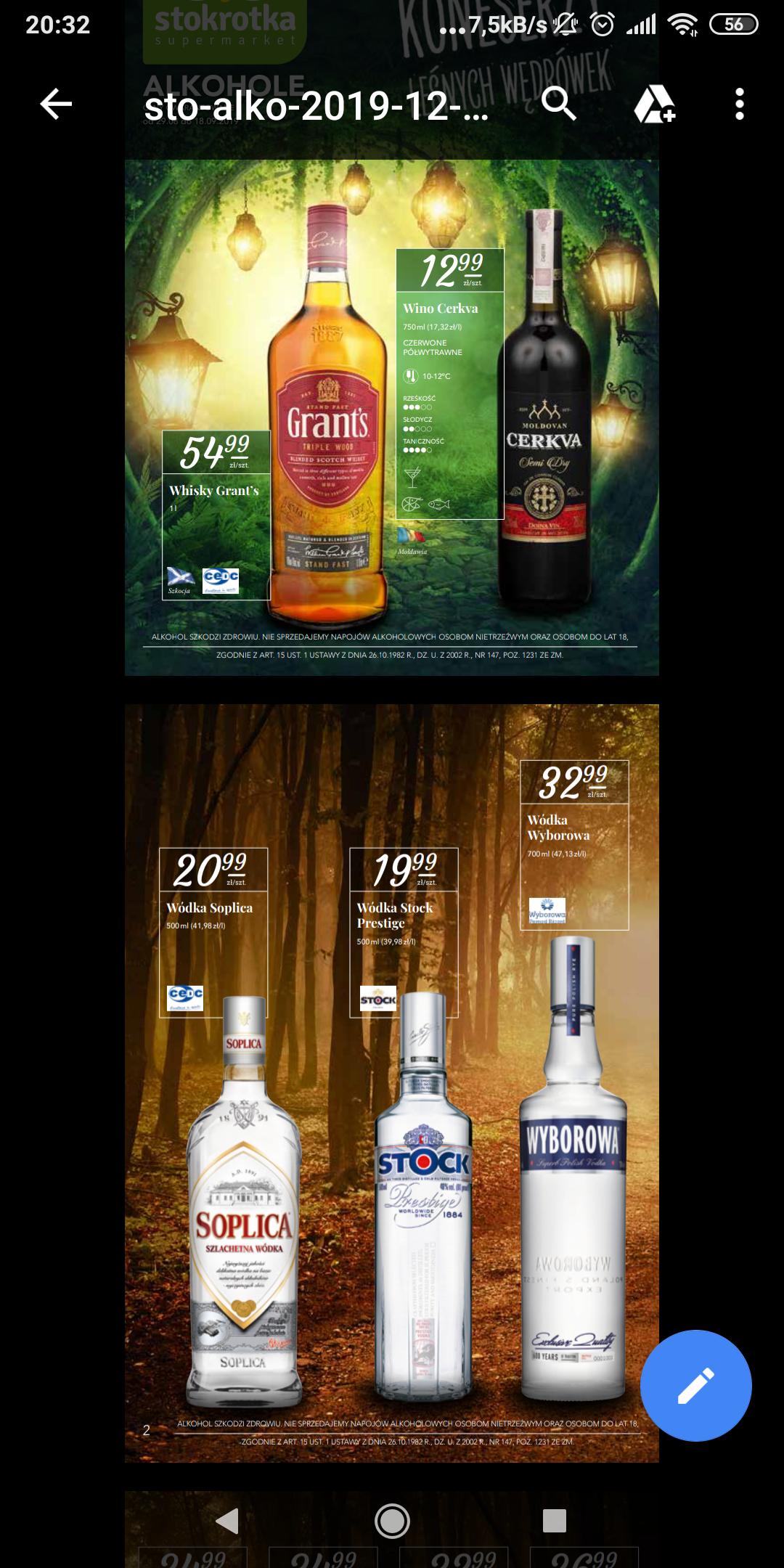 Stokrotka: whisky Grant's 1 l za 55 zł; wódka 0,5 l Stock 20 zł
