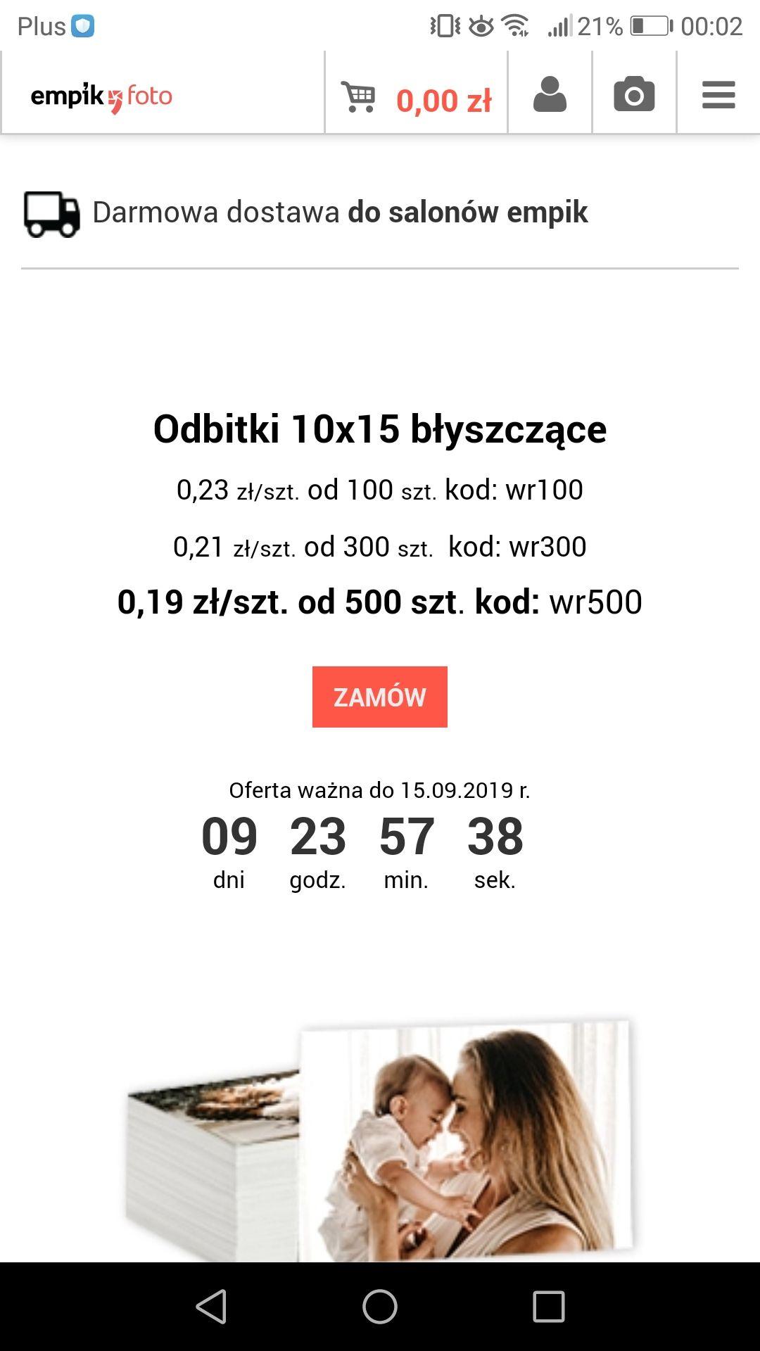 Empikfoto.pl promocja na odbitki na papierze błyszczącym w zależności od ilości