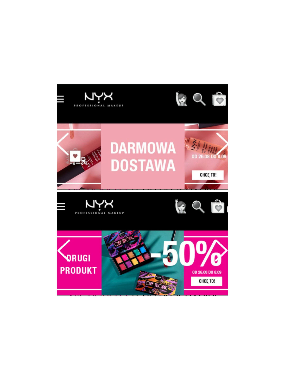 Darmowa dostawa i -50% na drugi produkt przy zakupach na stronie NYX
