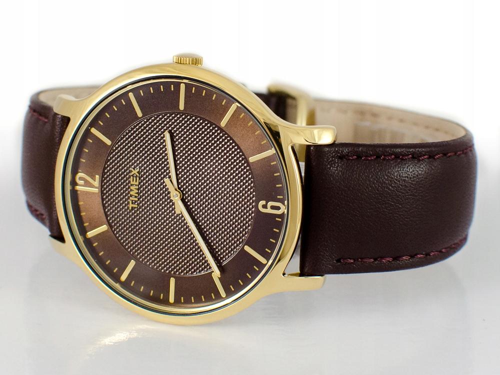 Klasyczny zegarek męski Timex TW2R49800 kolor złoty z tarczą brązową (i srebrny TW2R49900)