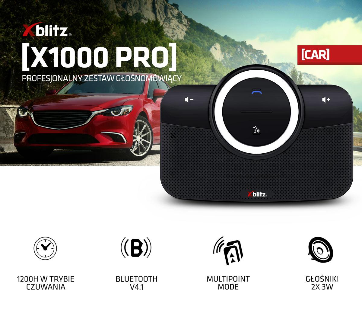 Zestaw głośnomówiący Xblitz X1000, BT 4.1, stereo, 16h rozmów/1200h czuwania