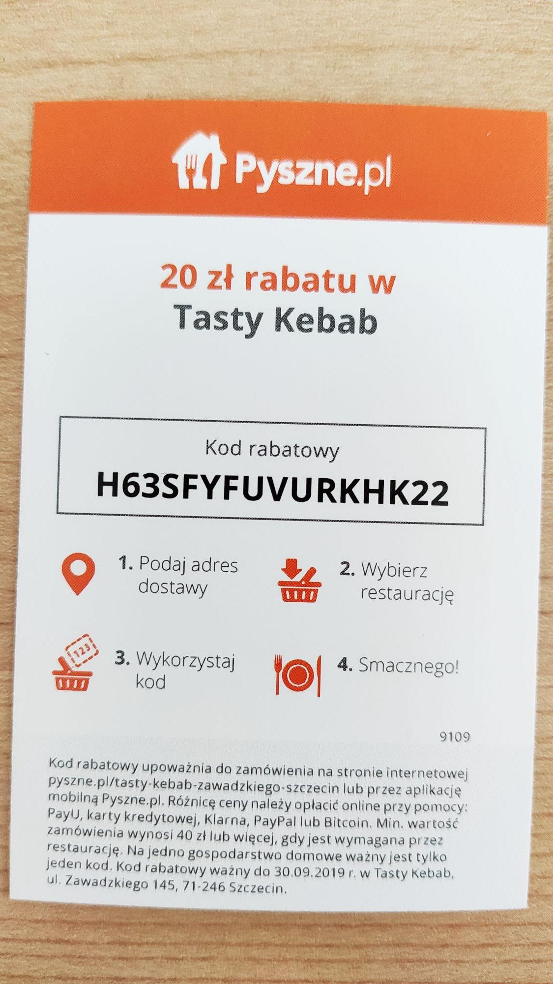 [Szczecin] Tasty Kebab - Kupon rabatowy 20 zł przy MWZ 40 zł