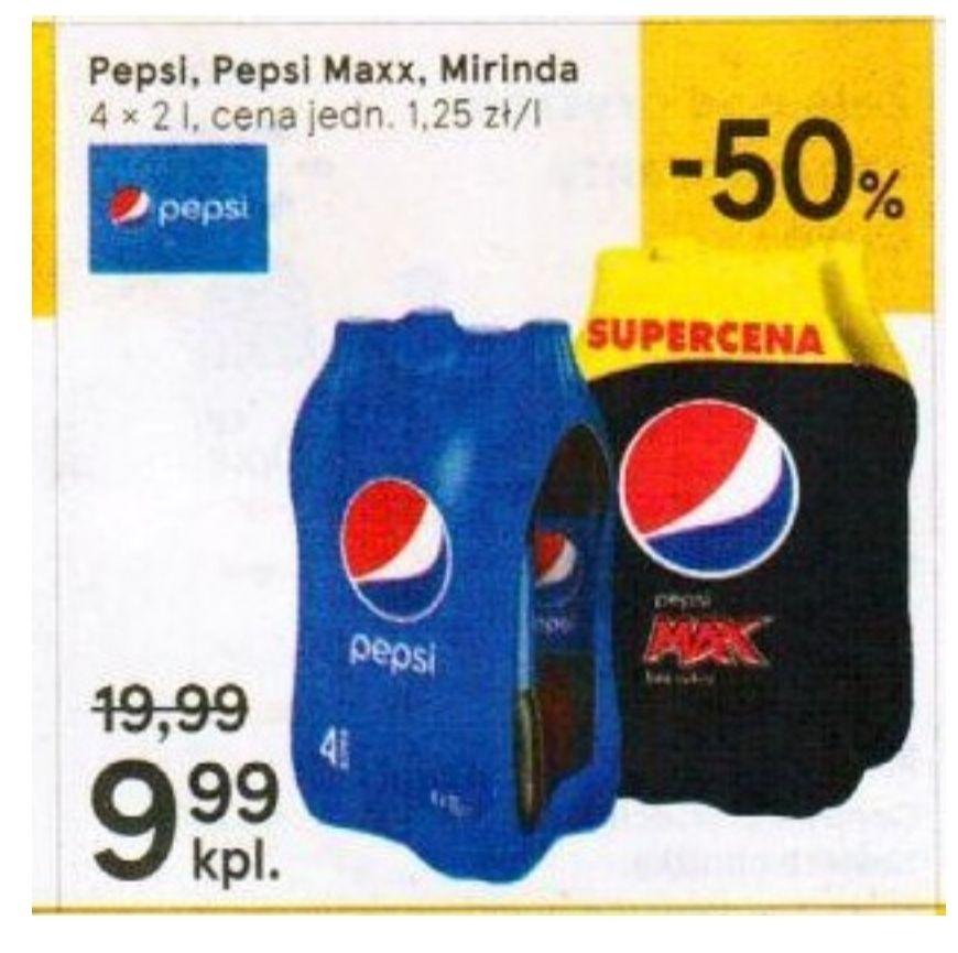 Pepsi, Pepsi Max, Mirinda. Tesco 4x2 l. Cena za litr 1.25 zł