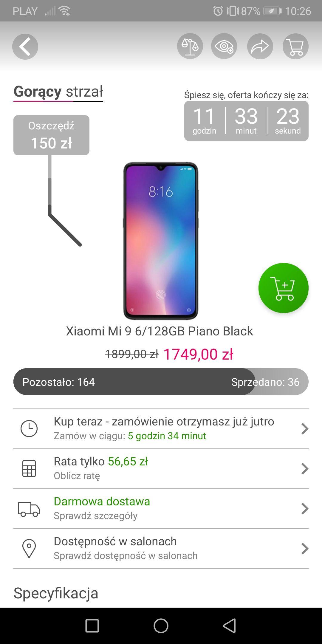Xiaomi Mi 9 wersja6/128