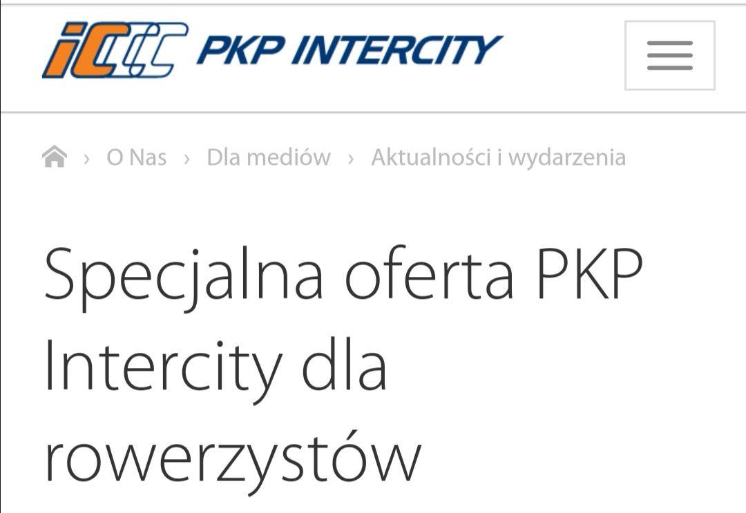 Przewóz roweru za 1zl w PKP Intercity (16-22.09.2019)