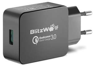 Qualcomm Certified BlitzWolf® BW-S5 QC3.0 18W USB Charger EU Adapter With Power3S Tech - Black